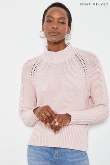 Mint Velvet Pink Cable Sleeve Boxy Jumper