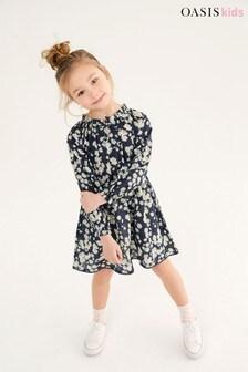 Oasis Navy Daisy Print Midi Dress