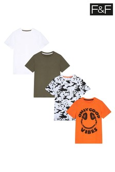 F&F Multi Orange Good Vibes T-Shirts 4 Pack