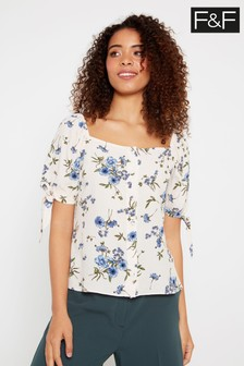 F&F Ivory Blue Pretty Floral Milkmaid Top