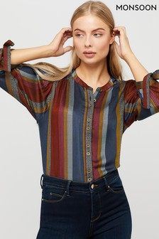 Monsoon Brown Westmount Stripe Button Top