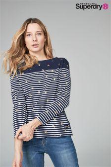 Superdry Navy Stripe Long Sleeve Print Top