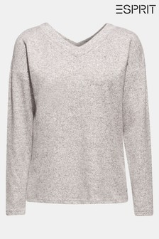 Esprit Grey Cosy V-Neck Long Sleeved T-Shirt