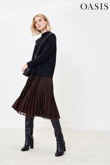 Oasis Bronze Pleated Midi Skirt