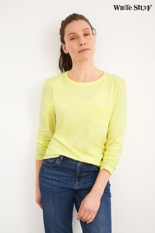 White Stuff Yellow Crochet Pocket T-Shirt