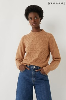 Warehouse Camel Cosy Cable Knit Jumper