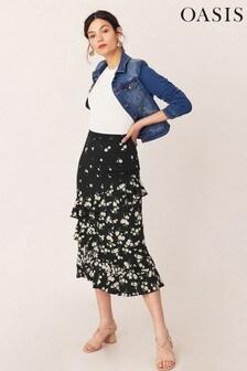 Oasis Multi Black Daisy Tiered Midi Skirt