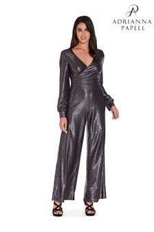 Adrianna Papell Black Metallic Jersey Jumpsuit
