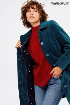 White Stuff Blue Highbrook Velvet Coat