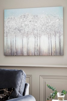 Silver Trees Embellished Canvas