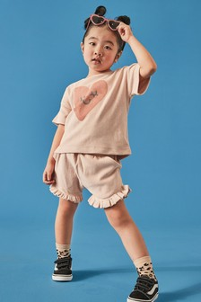 Myleene Klass Kids Organic Cotton Pink Top And Shorts Set