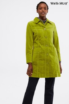 White Stuff Green Highbrook Velvet Coat