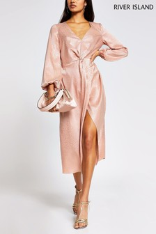 River Island Pink Light Twist Front Midi Dress