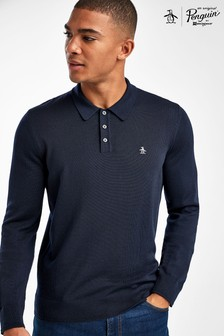 Original Penguin® Grey 12GG Merino Polo Sweater