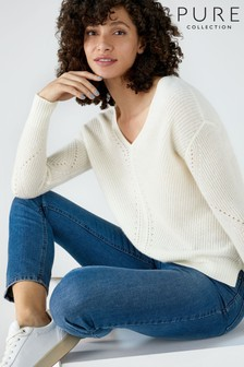 Pure Collection White Gassato Pointelle V-Neck Sweater