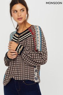 Monsoon Black Leonie Ecovero Print Patch Top