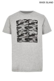 River Island Grey Marl Camo T-Shirt