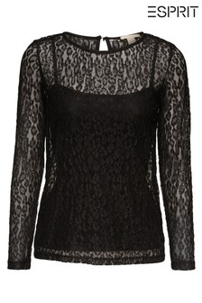Esprit Black Lace 2-In-1 Long Sleeved Blouse