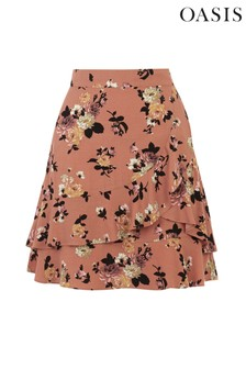 Oasis Orange Rose Ruffle Skirt