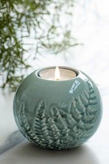 Ceramiczna podstawka na tealighty z liściem paproci