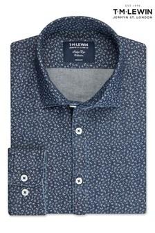 T.M. Lewin Floral Slim Fit Indigo Single Cuff Shirt