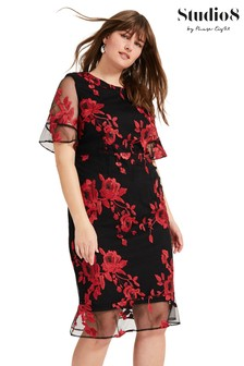 Studio 8 Red Raven Embroidered Dress