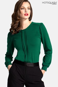 חולצה עם קפלים בחזית של HotSquash בצבע ירוק אזמרגד