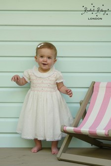 Rachel Riley Ivory Dot Smocked Dress And Bloomers
