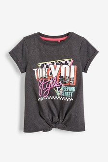 Graphic Tie Front T-Shirt (3-16yrs)