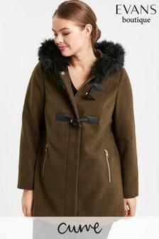 Evans Curve Khaki Faux Fur Hood Coat