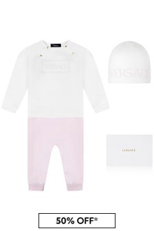 Baby Girls White & Pink Romper 2 Piece Gift Set