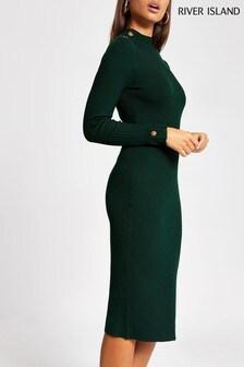 River Island Green Rita Button Shoulder Column Jumper Dress