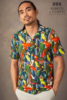 Hawes & Curtis Yellow Parrot Paradise Print Relaxed Fit Shirt