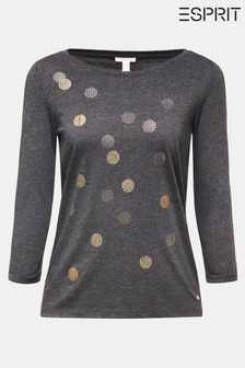 Esprit Grey 3/4 Sleeve T-Shirt With Metallic Dots
