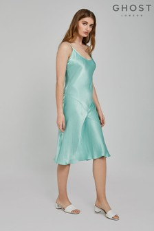 Ghost London Blue Sherry Satin Slip Dress