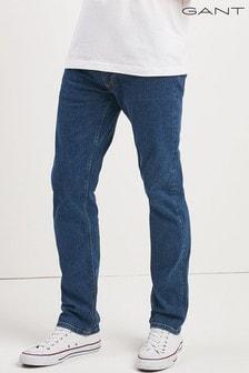 Granatowe dżinsy z prostą nogawką Gant