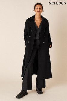 Monsoon Black Charlotte Maxi Coat