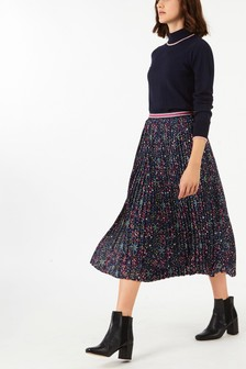 Cath Kidston® Blue  Pleated Midi Skirt