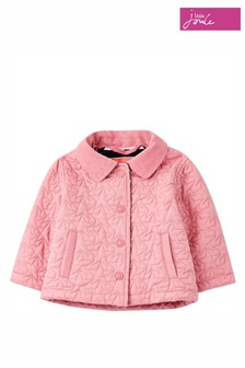 Joules Pink Mabel Star Quilted Coat