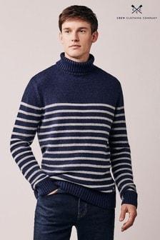 Синий свитер с воротником «гольф» Crew Clothing Warley