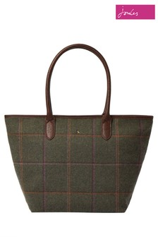 Joules Green Fernwell Tweed Large Tote Bag