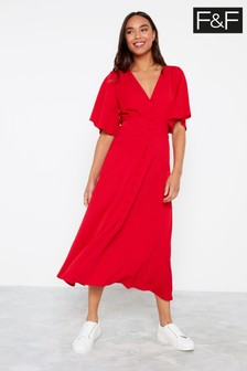 F&F Red Button Thru Midi Tea Dress