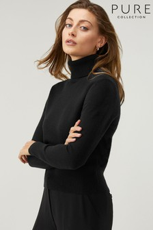 Pure Collection Black Cashmere Cropped Polo Sweater