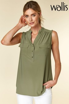 Wallis Green Sleeveless Shirt