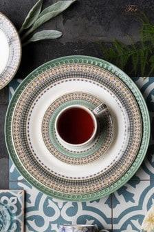 Set of 4 Portmeirion White Atrium Geo Dinner Plates