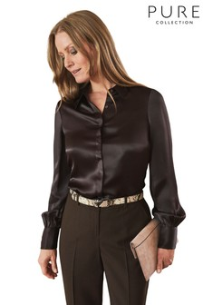 Pure Collection Brown Silk Satin Shirt