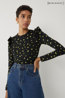 Warehouse Black Micro Floral Frill Sleeve Top
