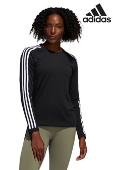 adidas Black 3 Stripe Long Sleeved T-Shirt