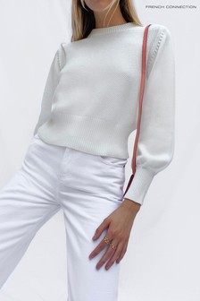 French Connection White Jamie Mozart Knits Crew Neck Jumper