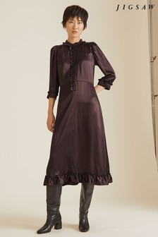 Jigsaw Brown Silk Satin Ruffle Shirt Dress